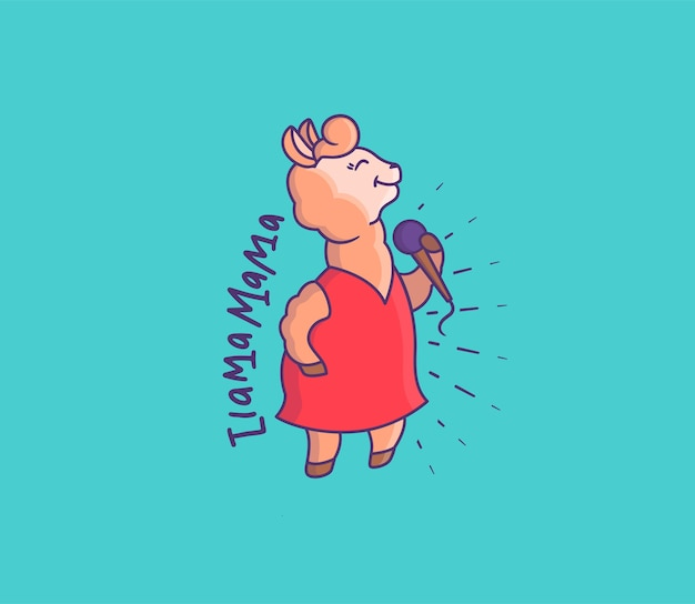 Милая лама-певица в красном платье. мультипликационный персонаж с микрофоном поет фразу - я лама мама.