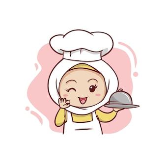 귀여운 이슬람교도 여성 요리사 그림