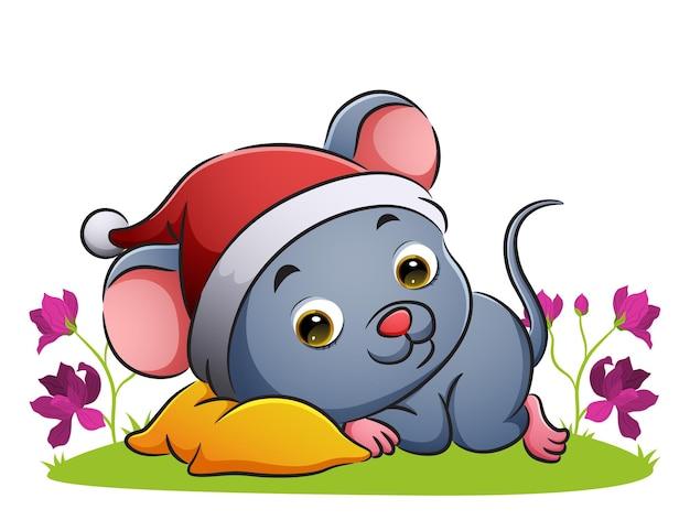 귀여운 쥐가 삽화 정원의 베개에 누워 있다