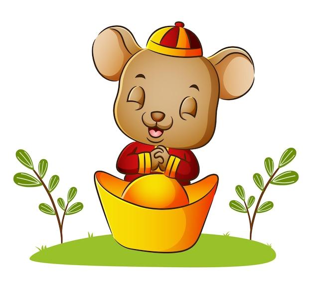 귀여운 쥐가 일러스트의 엔파오 항아리에 기도하고 있다