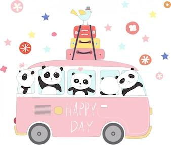 Милая панда малышка путешествует на отдыхе