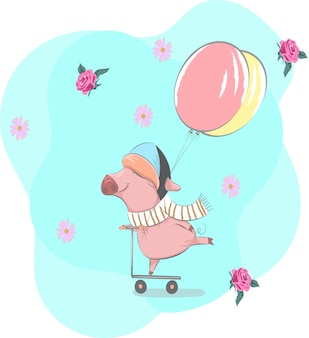 The cute pig on the scooter cartoon drawing