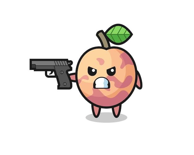 かわいいプルオットフルーツのキャラクターが銃で撃つ、tシャツ、ステッカー、ロゴ要素のかわいいスタイルのデザイン