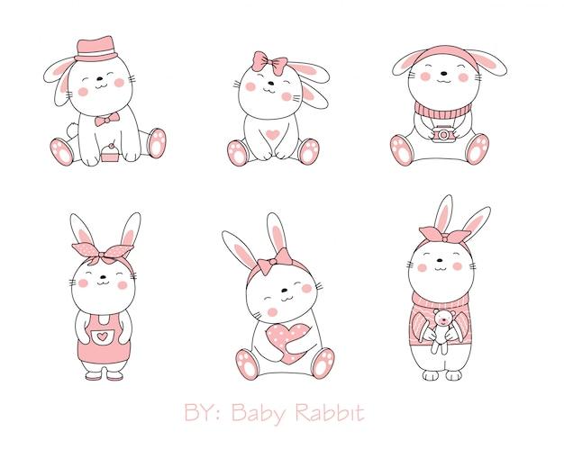白地にかわいいウサギの動物漫画。手描きスタイル