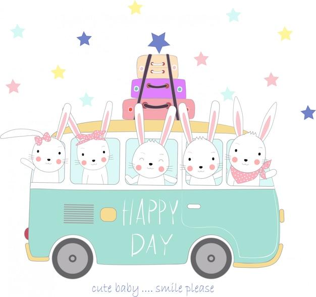 休日に旅行するかわいいウサギの赤ちゃん