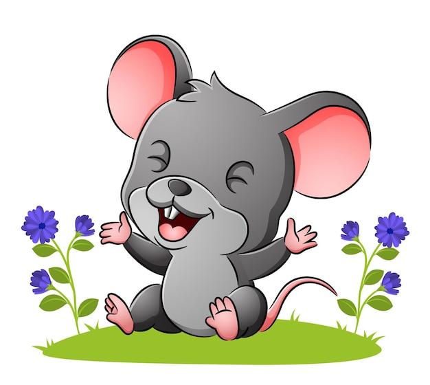 かわいいネズミはイラストの庭に座っています