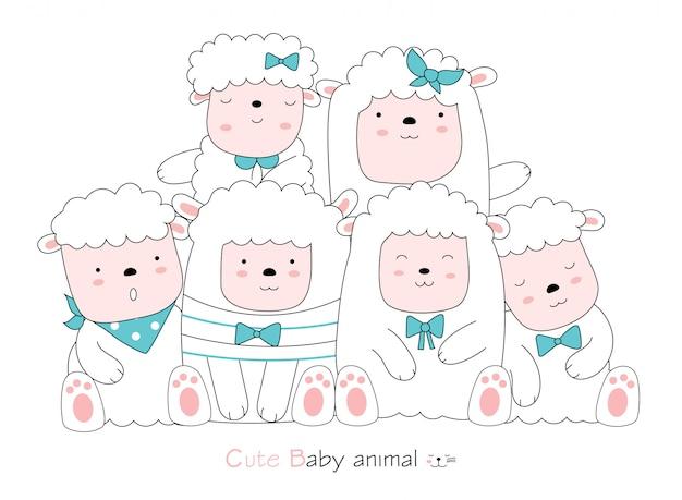 白い背景の上のかわいい羊動物漫画。手描きスタイル