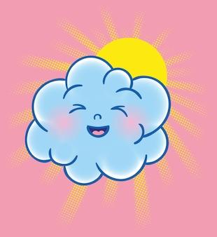 かわいい笑顔の楽しい素敵な雲のキャラクター