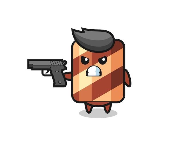 銃で撃つかわいいウエハースロールキャラクター、tシャツ、ステッカー、ロゴ要素のかわいいスタイルのデザイン