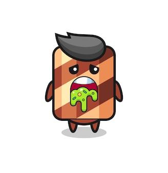 Симпатичный персонаж вафельного рулона с блевотиной, милый стильный дизайн для футболки, наклейки, элемента логотипа
