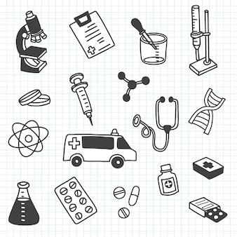 あなたのデザインに設定されたかわいい落書き薬アイコン。手描きのヘルスケア、薬局、医療漫画アイコンコレクション。