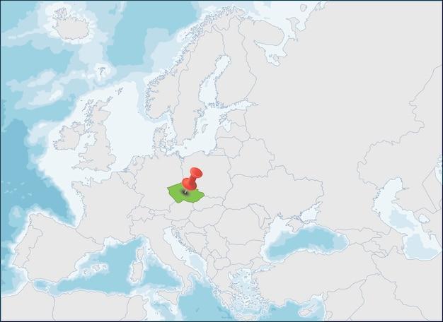 ヨーロッパ地図上のチェコ共和国の場所