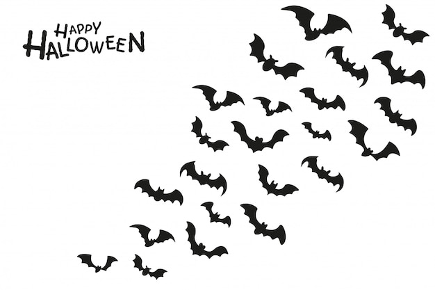 할로윈 밤에 피를 빨기 위해 날아가는 유령 박쥐 그룹의 어두운 그림자.