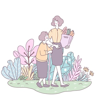 딸은 나이든 엄마를 데리고 야채를 사러 쇼핑하러 갔다.