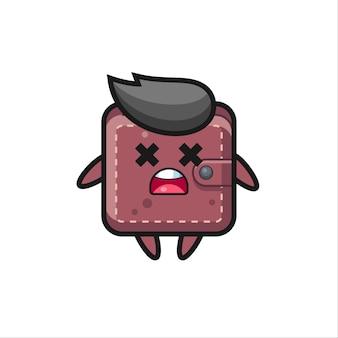 죽은 가죽 지갑 마스코트 캐릭터, 티셔츠, 스티커, 로고 요소를 위한 귀여운 스타일 디자인