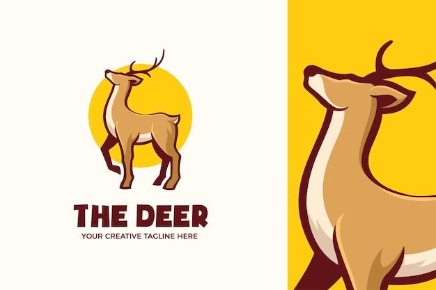 鹿のマスコットのキャラクターのロゴのテンプレート