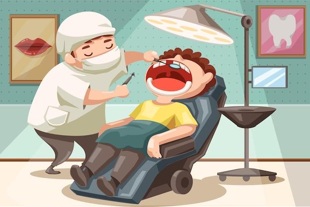 歯科医の男性は、漫画のキャラクターで歯科医院の歯科用椅子に横たわっている患者の口の歯を調べています
