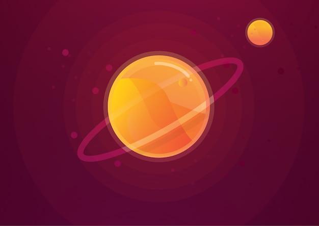 太陽系のベクトルのイラストの背景に砂漠