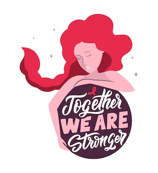 Дизайн подходит для всемирного дня борьбы со спидом. это розовая девочка с цитатой: «вместе мы сильнее». векторная иллюстрация