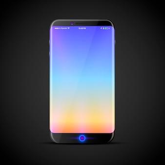 Дизайн нового сенсорного телефона с большим экраном. векторная иллюстрация