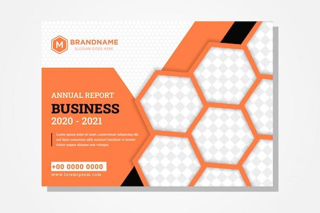 В оформлении годового отчета обложка книги для бизнеса используется по горизонтальной раскладке и сочетанию четырех цветов: оранжевого, черного, серого и черного. форма шестиугольника как пространство для фото коллаж и рисунок.