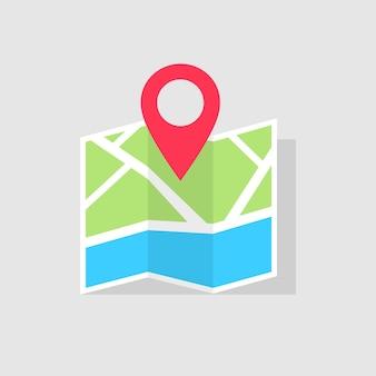 지도에서 이동 방향은 빨간색 포인터로 표시됩니다. 포인터 기호로 매핑하십시오. 네비게이터 또는 가이드. 벡터 일러스트 레이 션 eps 10