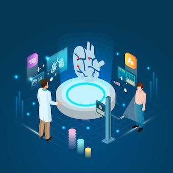 医者および患者の心臓スキャン診断処置およびオンラインコンセプト。