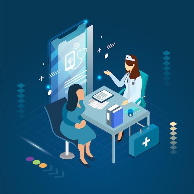 医師と患者が診断の治療とスマートフォンのコンセプトに会う。
