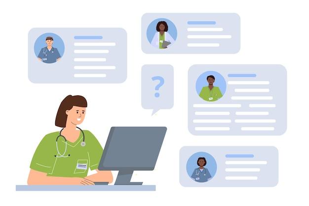 Врач консультируется с коллегами онлайн, концепция медицинского чата для поддержки и совета.