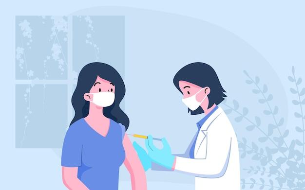 医者は患者に注射をします。コロナウイルスワクチン接種、医師はcovid-19に対する免疫の手術マスクプロセスを着用します。ベクトル医療保護の概念。