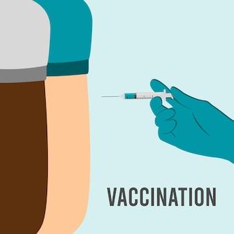 医者は肩、腕の筋肉に注射をします。コロナウイルスワクチン接種、医師が患者に注射します。注射をする手袋をはめた医者の手。ベクトルイラスト。