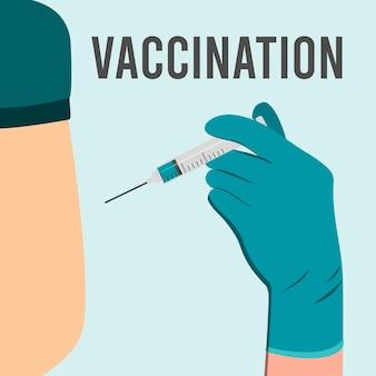 의사는 어깨, 팔 근육에 주사합니다. 코로나바이러스 백신 접종, 의사가 환자에게 주사합니다. 주사를 만드는 장갑을 끼고 의사 손입니다. 벡터 일러스트 레이 션.
