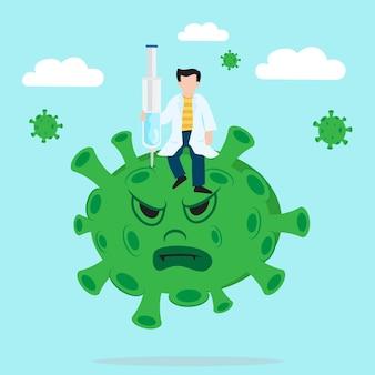 의사는 교육을 위한 치료 백신 삽화를 covid19 바이러스에 주입했습니다.