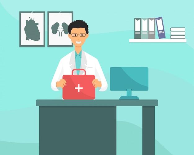 医者は薬の容器と医療機器を持っています