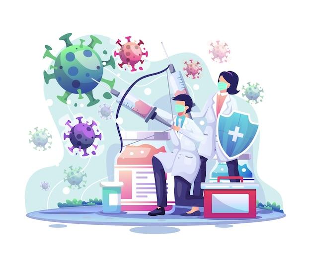 의사는 코로나 바이러스 세포에 주사를 맞고 있습니다