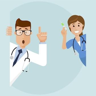 Врач смотрит из-за угла врач удивлен и поднимает палец вверх