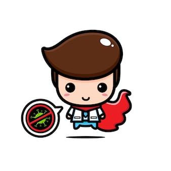 Дизайн доктора - герой с символом остановки вируса