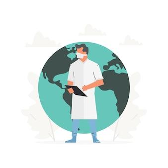 医者は大きな地球の前に立っています医者はペンを手にクリップボードを持っています