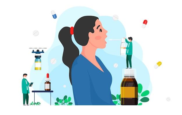의사는 인후 스프레이로 환자에게 인후를 치료합니다. 의학 개념, 질병 치료 개념입니다. 인후염 치료. 의학 의료 개념입니다. 의료 배경입니다. 벡터 일러스트 레이 션