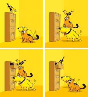 Собака, кошка и птица смотрят в шкаф.