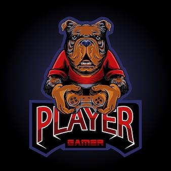 Иллюстрация логотипа собаки геймера