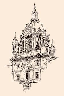 アーチ、彫像、時計を備えたクラシックなスタイルの大聖堂のドーム。ベージュの背景にスケッチします。