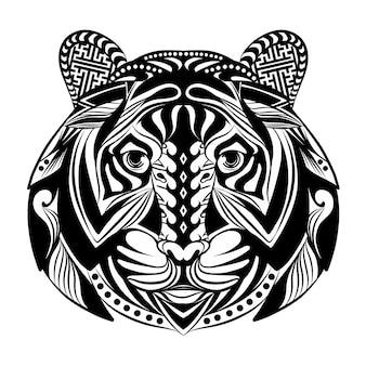 タトゥーのインスピレーションのための飾りでいっぱいのゼンタングルタイガーの落書きアート
