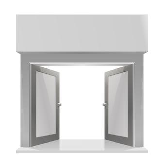白い背景の上の店への扉。ベクトルイラスト