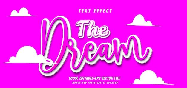 Мечта текстовый эффект дизайн вектор