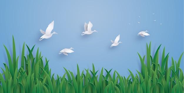 アヒルは空を飛んでいる。