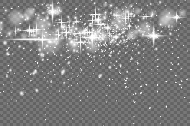 먼지는 노란색입니다. 노란 불꽃과 황금빛 별이 특별한 빛으로 빛납니다. 벡터는 투명한 배경에서 반짝입니다. 크리스마스 조명 효과입니다. 반짝이는 마법의 먼지 입자.