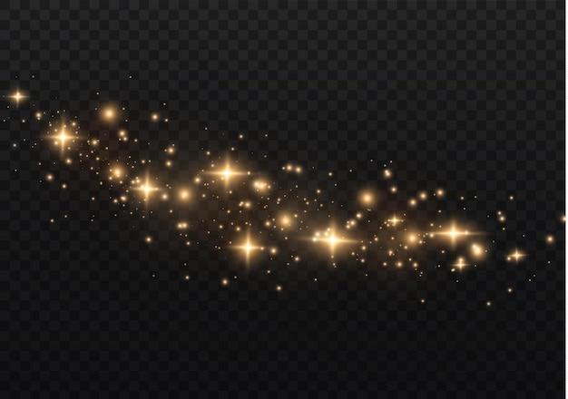 ほこりは黄色です。黄色い火花と金色の星が特別な光で輝いています