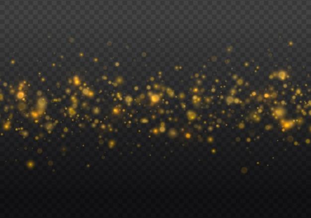 ほこりの火花と金色の星が特別な光で輝きます
