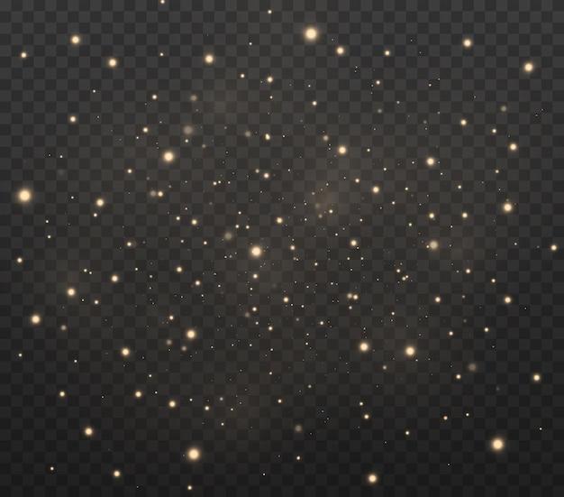 먼지 스파크와 황금빛 별이 빛으로 빛납니다